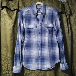 George Small blue plaid buttoned down shirt